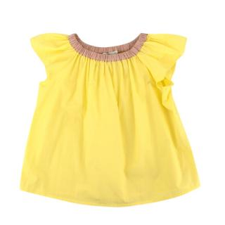 Bonpoint Yellow Cotton Pleated Blouse