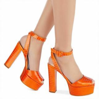 Giuseppe Zanotti Orange Platform Tejus Print Sandals