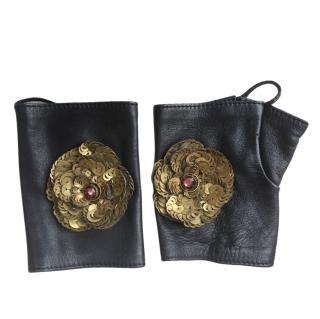Chanel Black Lambskin Embellished Mittens