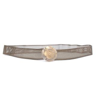 Chanel Silver Mesh Belt w/ Mother of Pearl Camellia Buckle