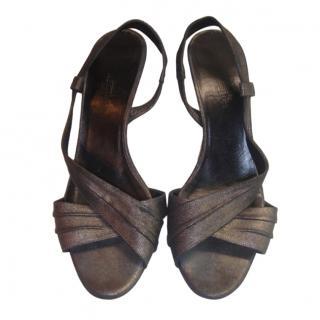 Hermes Metallic Kitten Heel Sandals