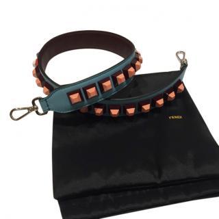 Fendi Blue Studded Leather Shoulder Strap