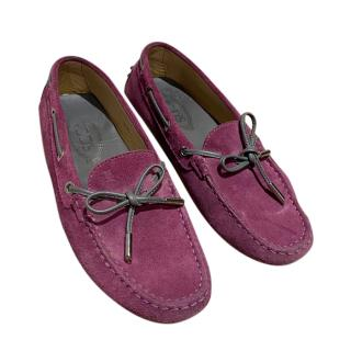 Tod's Purple Suede Driving Loafers