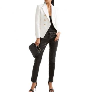 Balmain Ivory Double Breasted Tailored Jacket