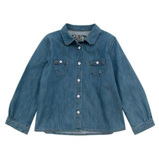 Bonpoint Blue Denim Long Sleeve Collared Shirt
