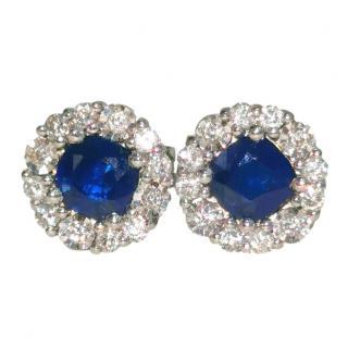 Bespoke Diamond & Sapphire Halo Earrings