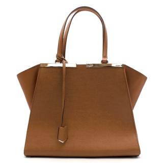 Fendi Brown Textured Leather 3 Jours Tote Bag