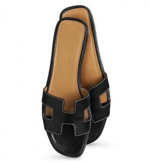 Hermes Box Leather Black Oran Sandals slides shoes sz37