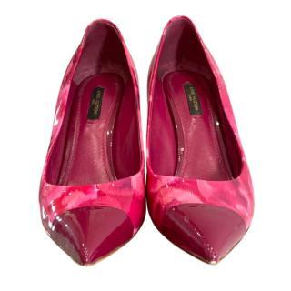 Louis VUitton Pink Floral Patent Pumps