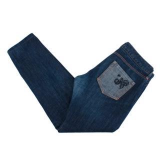 Bottega Veneta Blue Cotton Denim Contrasting Pocket Jeans