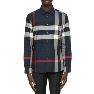 Burberry Navy Slim Somerton Check Shirt In Navy Check