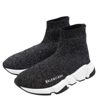 Balenciaga Black Glitter Speed Sneakers