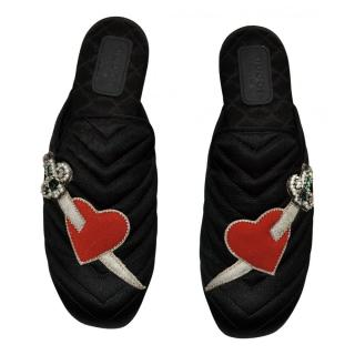 Gucci Satin Heart & Dagger Embroidered Princetown Slippers