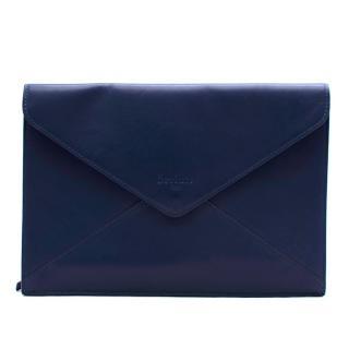 Berluti Blue Leather Envelope Pouch
