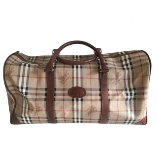Burberry Vintage Check Leather Trim Duffle Bag