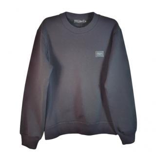 Dolce & Gabbana Logo Plate Black Sweatshirt