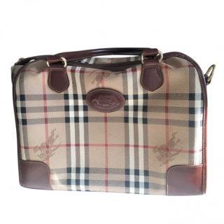 Burberry Vintage Leather Trim Check Handbag