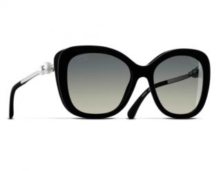 Chanel Black Faux Pearl Square Sunglasses