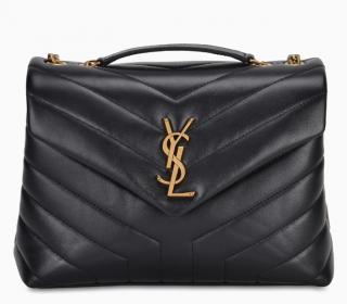 Saint Laurent Black Leather Small Loulou Bag