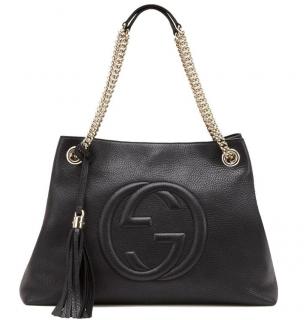 Gucci Black Leather Soho Tote Bag