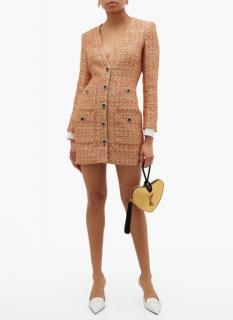 Alessandra Rich Orange & Gold Sequin Embellished Tweed Dress