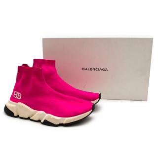 Balenciaga Pink Knit Speed Trainers