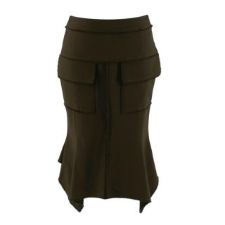 Tom Ford Green Fit & Flare Utility Skirt
