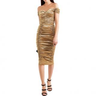 Dolce & Gabbana Off-the-shoulder ruched silk-blend Lurex