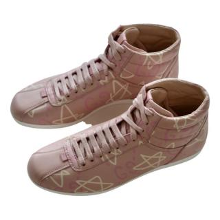 Gucci pink GG high top trainers