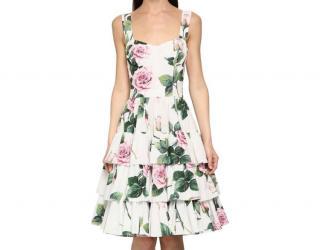 Dolce & Gabbana white tropical rose print dress