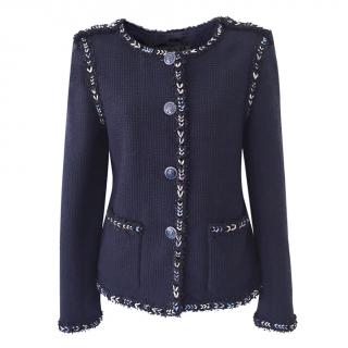 Chanel Navy Silk Lesage Tweed Military Style Jacket