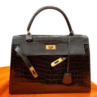 Hermes Vintage Black Lisse Crocodile Kelly Sellier 32 GHW