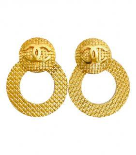Chanel Gold Tone CC Hoop Earrings