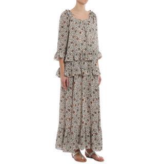 Tory Burch Ruffled Floral Print Dress