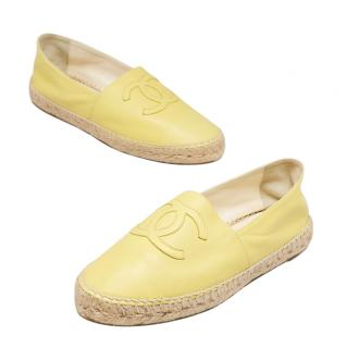 Chanel Pale Yellow Leather Espadrilles