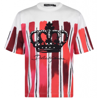 Dolce & Gabbana Red Brush Stroke Logo Print T-Shirt