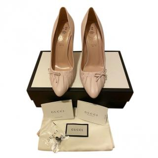 Gucci Pale Pink Pleated Leather Pumps
