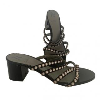 Gina Black Faux Pearl Embellished Strappy Mules