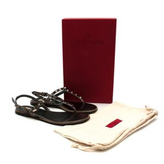Valentino Graphite Leather Rockstud Flat Sandals