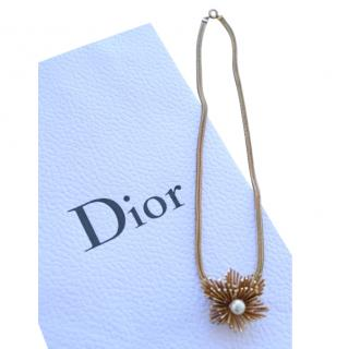 Dior vintage faux pearl and gold metal snake chain necklace