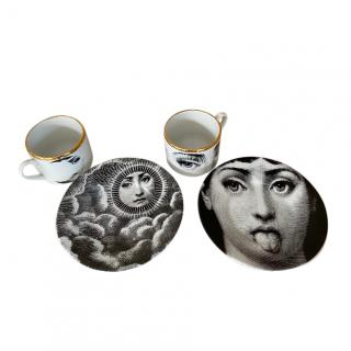 Fornasetti Tema e Variazioni Set of Porcelain Tea Cups