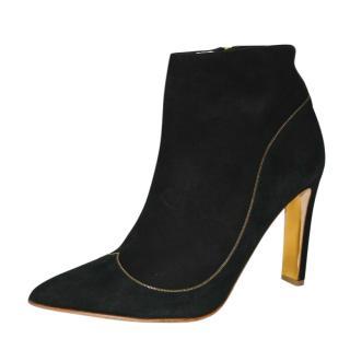 Rupert Sanderson Armada Black & Gold Suede Ankle Boots