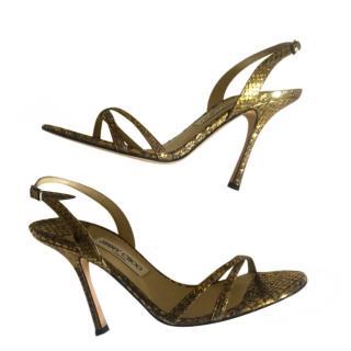 Jimmy Choo Gold Python Strappy Sandals