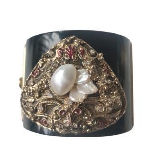Chanel Baroque Faux Pearl CC Embellished Black Cuff