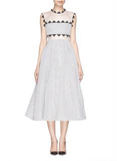 Self-Portrait Lucille Geometric-Trim Mesh Dress