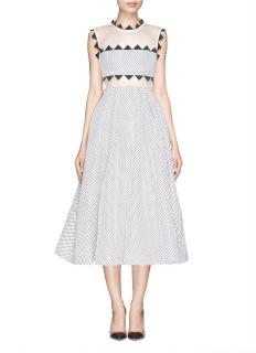 Self-Portrait Lucille Geometric-Trim Mesh Dress