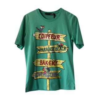 Love Moschino Green Signpost Print T-Shirt