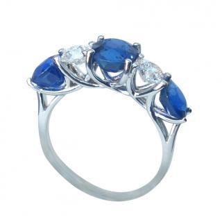 Bespoke 18ct White Gold Diamond & Sapphire Ring