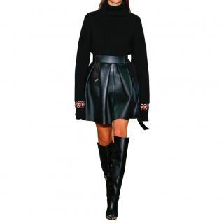 David Koma runway black lambskin leather pleated skirt