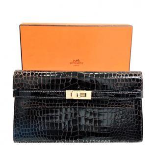 Hermes brown crocodile diamond long Kelly Wallet
